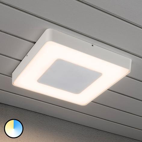 Valkoinen LED-ulkokattovalaisin Carrara, nelikulm.