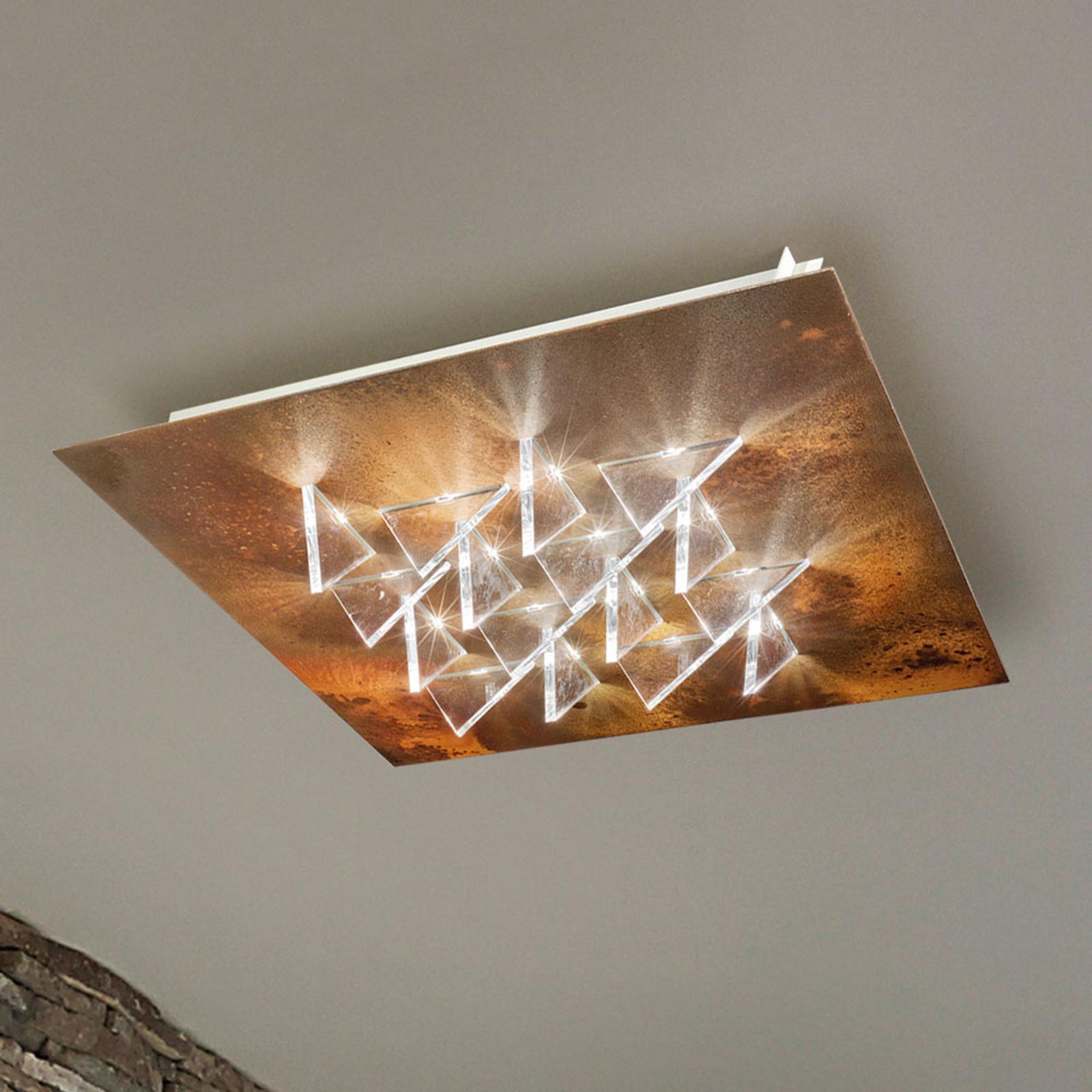 Effektfull LED-taklampe Cristalli, rust