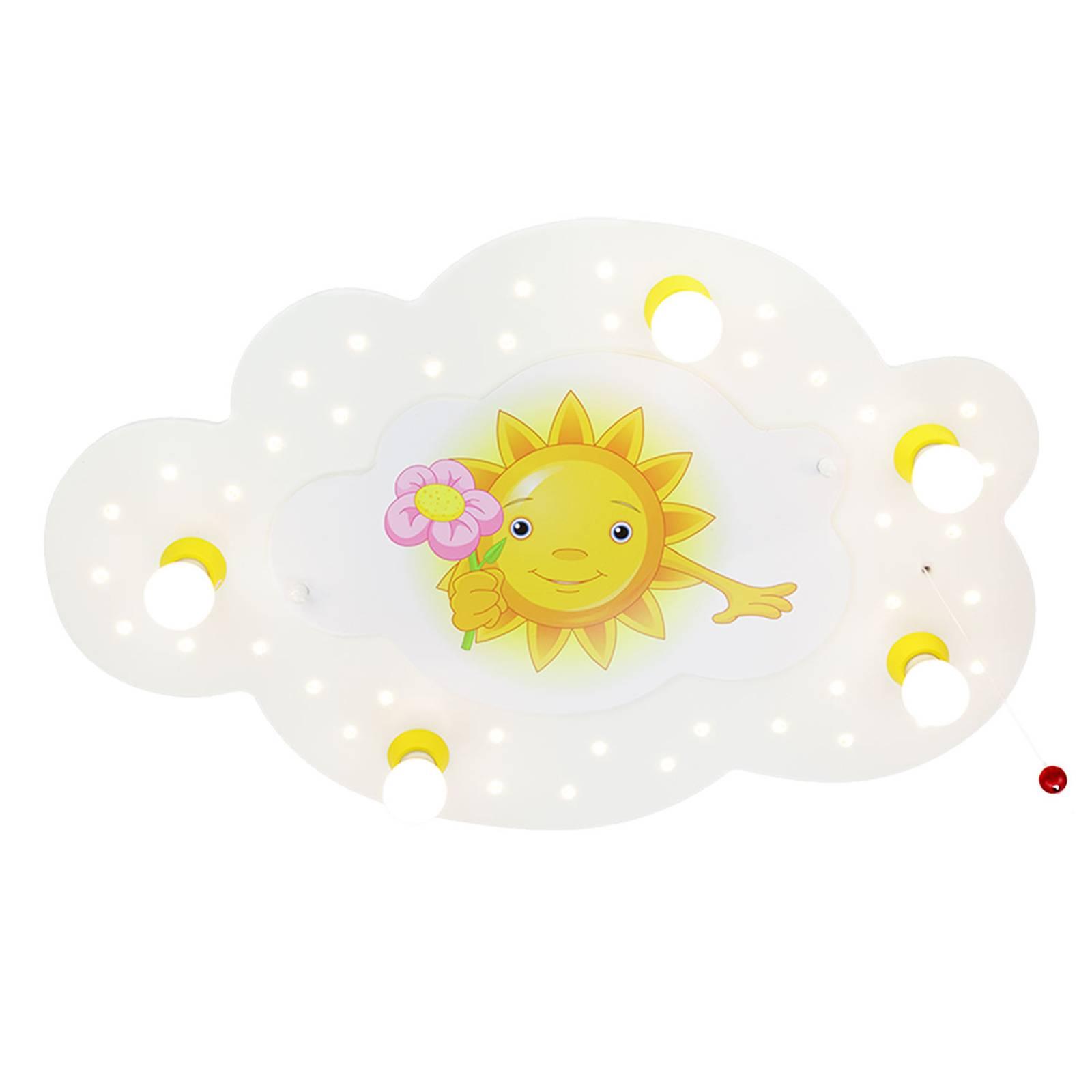 Plafoniera Sole con fiore, 5 luci, bianca