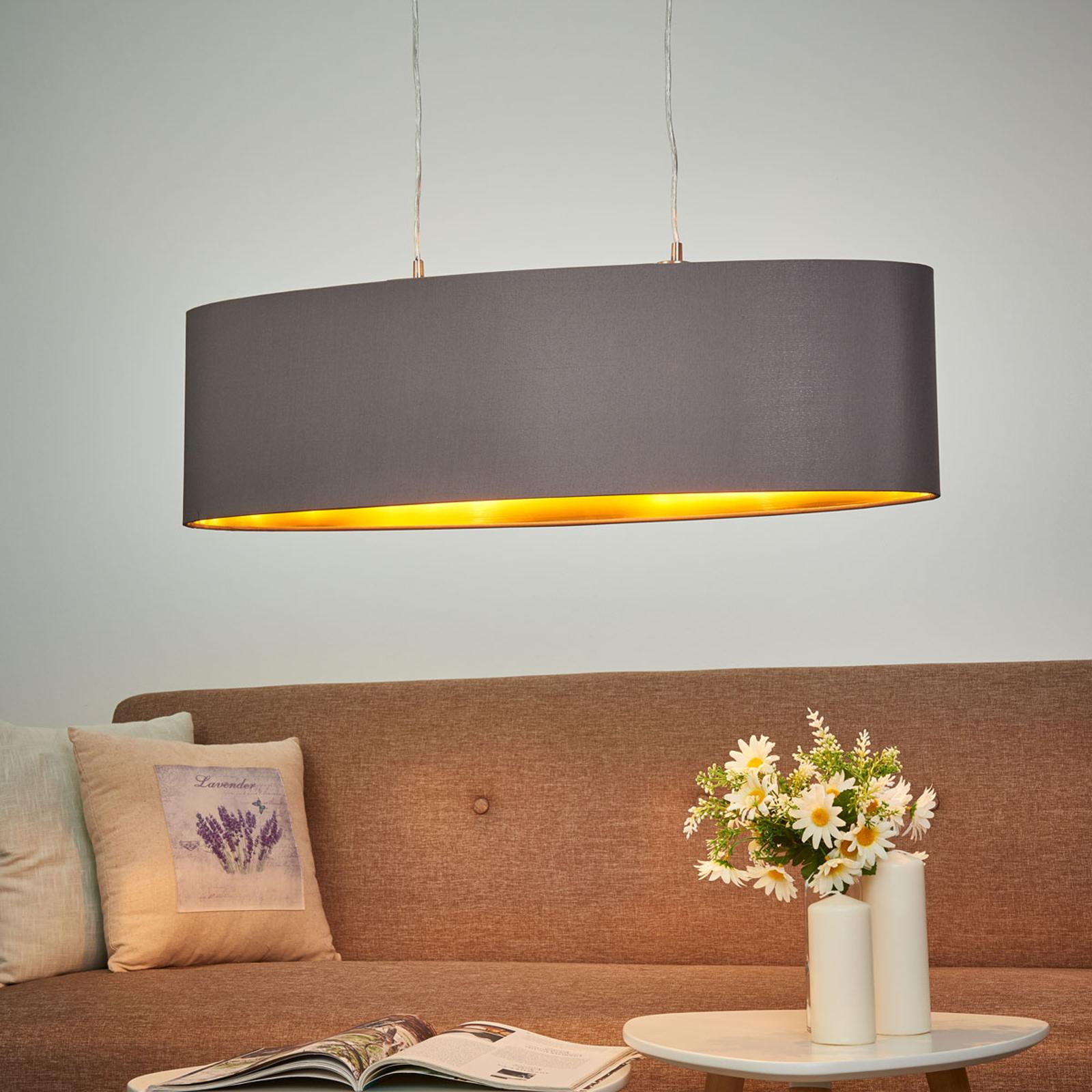 Lámpara colgante Carpi de tela, oval, long.: 78 cm