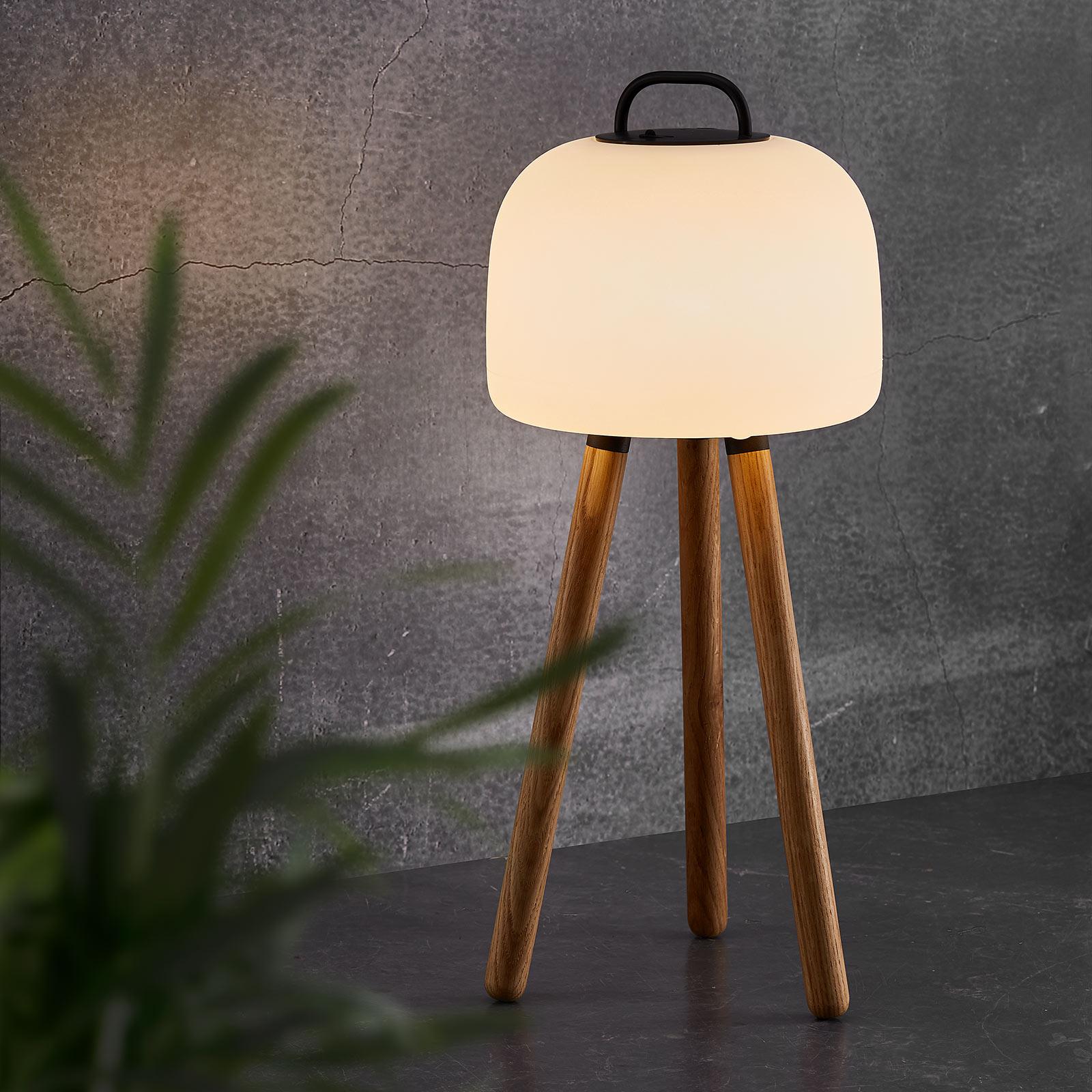LED-bordlampe Kettle tripod, tre, skjerm 22 cm