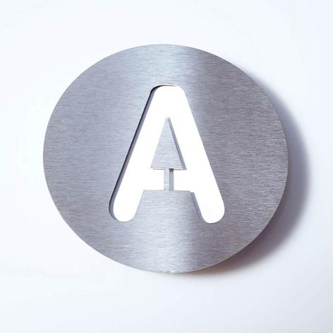 Husnummer rustfritstål Round A-F