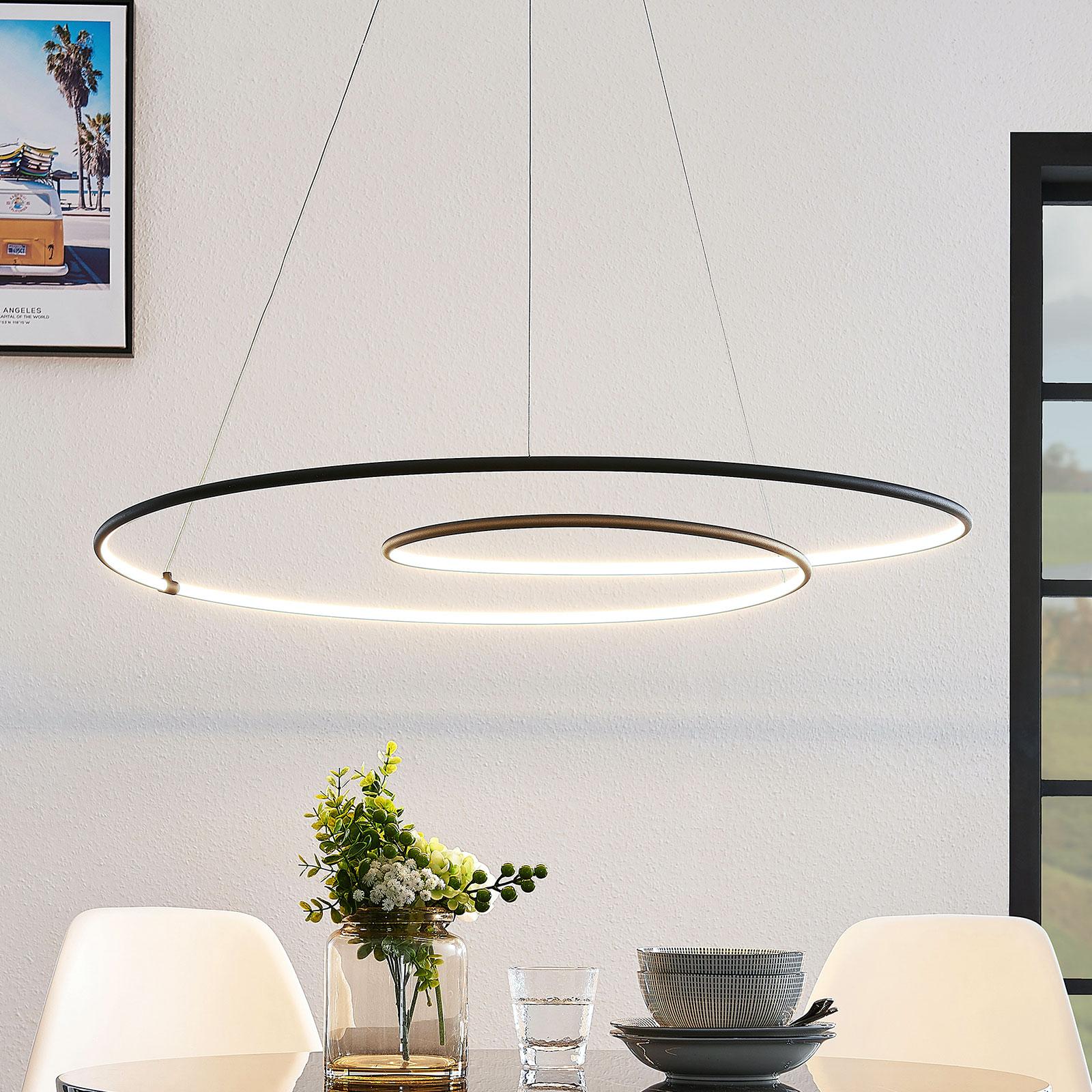 Lindby Lucy lampa wisząca LED, 90cm, czarna matowa