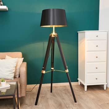 Lámpara de pie Ellinor con trípode, negro