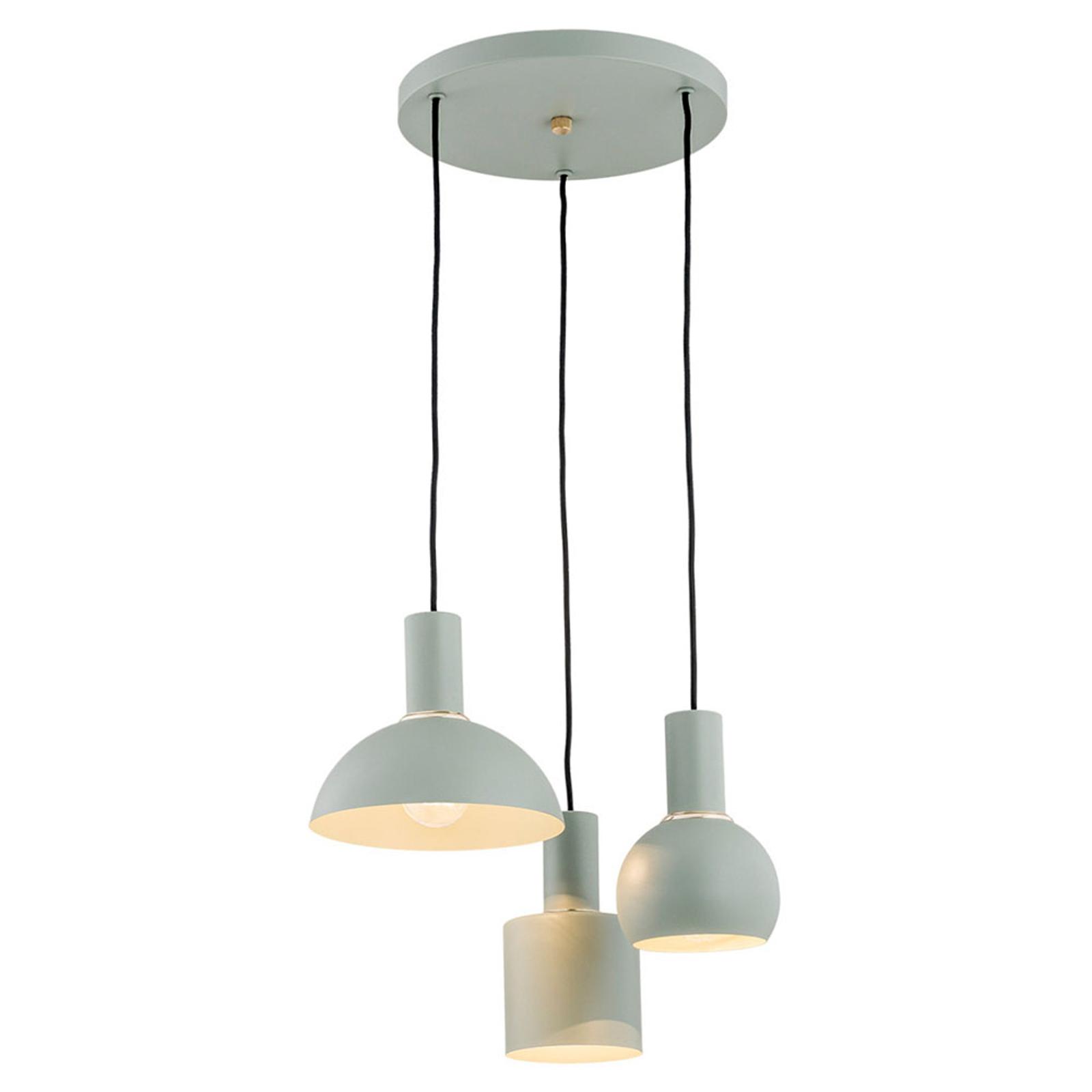 Suspension Selma, à 3 lampes, verte