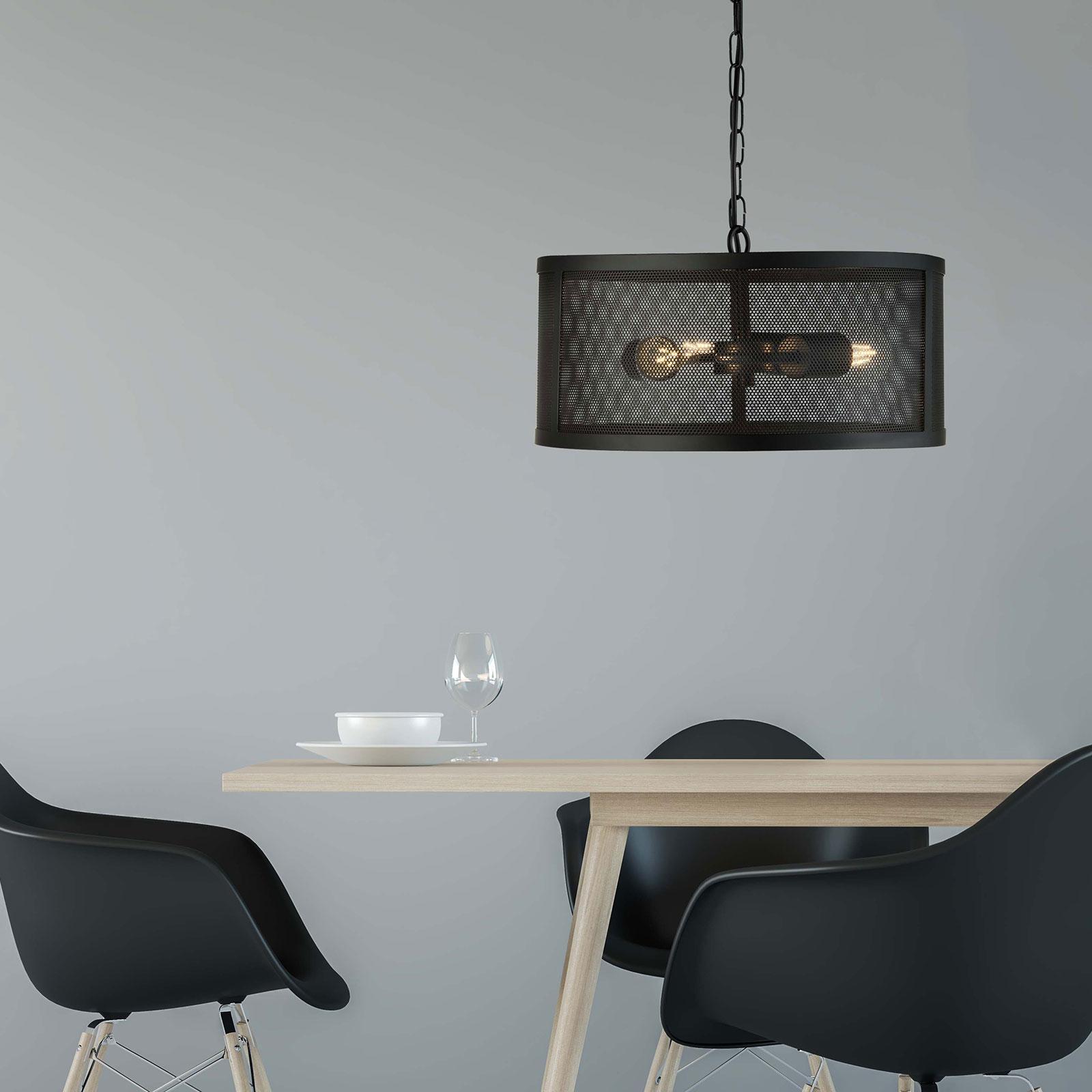 Hängeleuchte Fishnet aus Metall in Schwarz Ø 45 cm