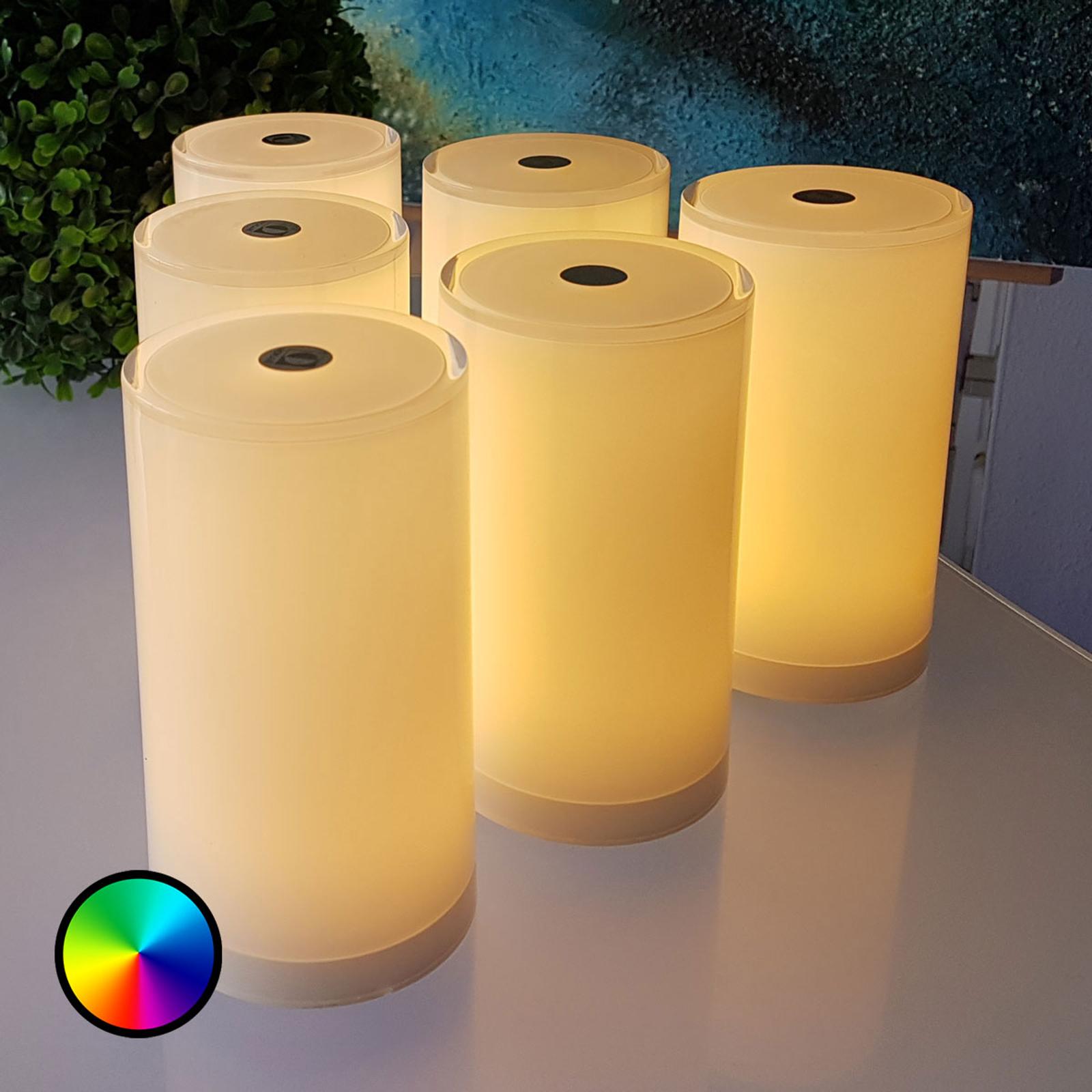 Bordlampe Tub i 6-pakning, styrbar med app, RGBW
