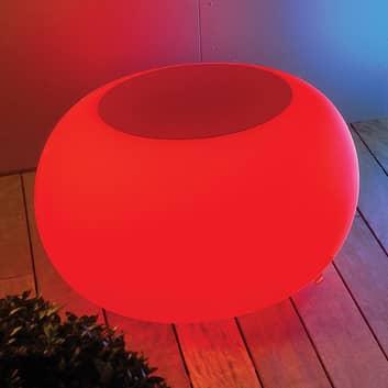 BUBBLE Outdoor mesa LED RGB con forro fieltro rojo