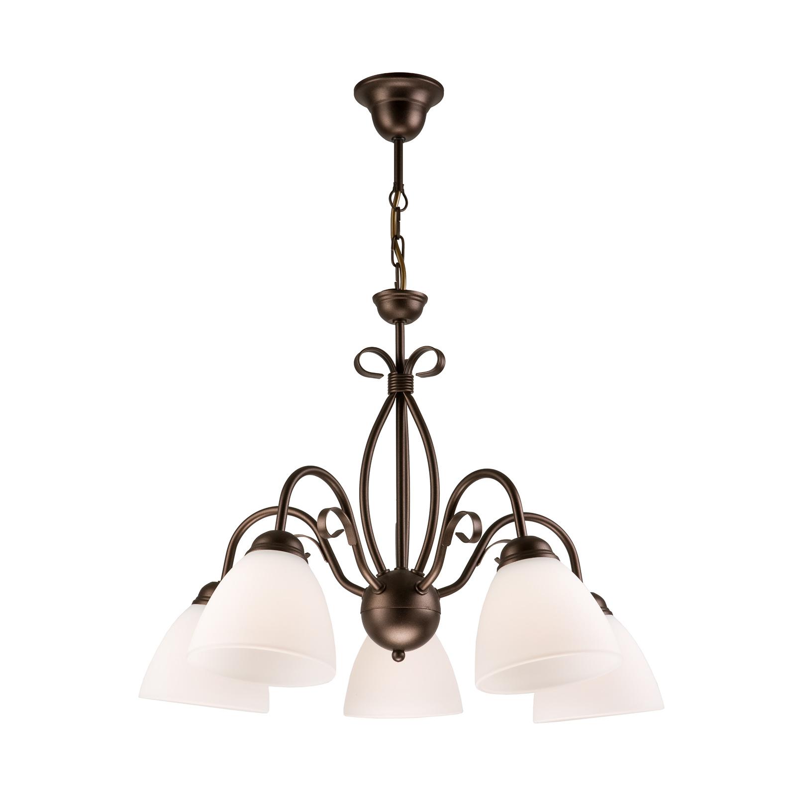 Riippuvalo Adoro, 5-lamppuinen, ruskea