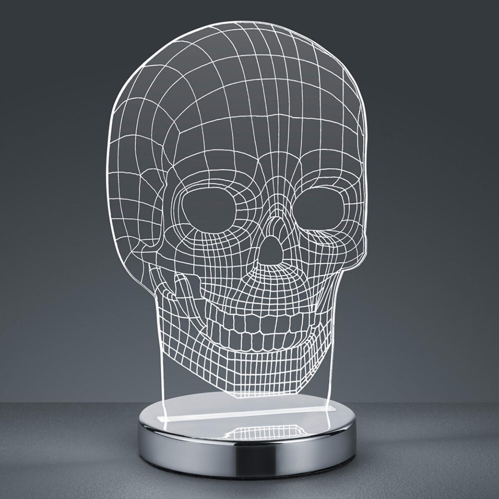 Lampada da tavolo LED Skull, cambio colore di luce