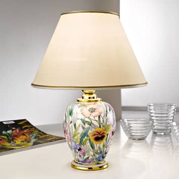 Lámpara de mesa Giardino Panse print floral Ø 25cm