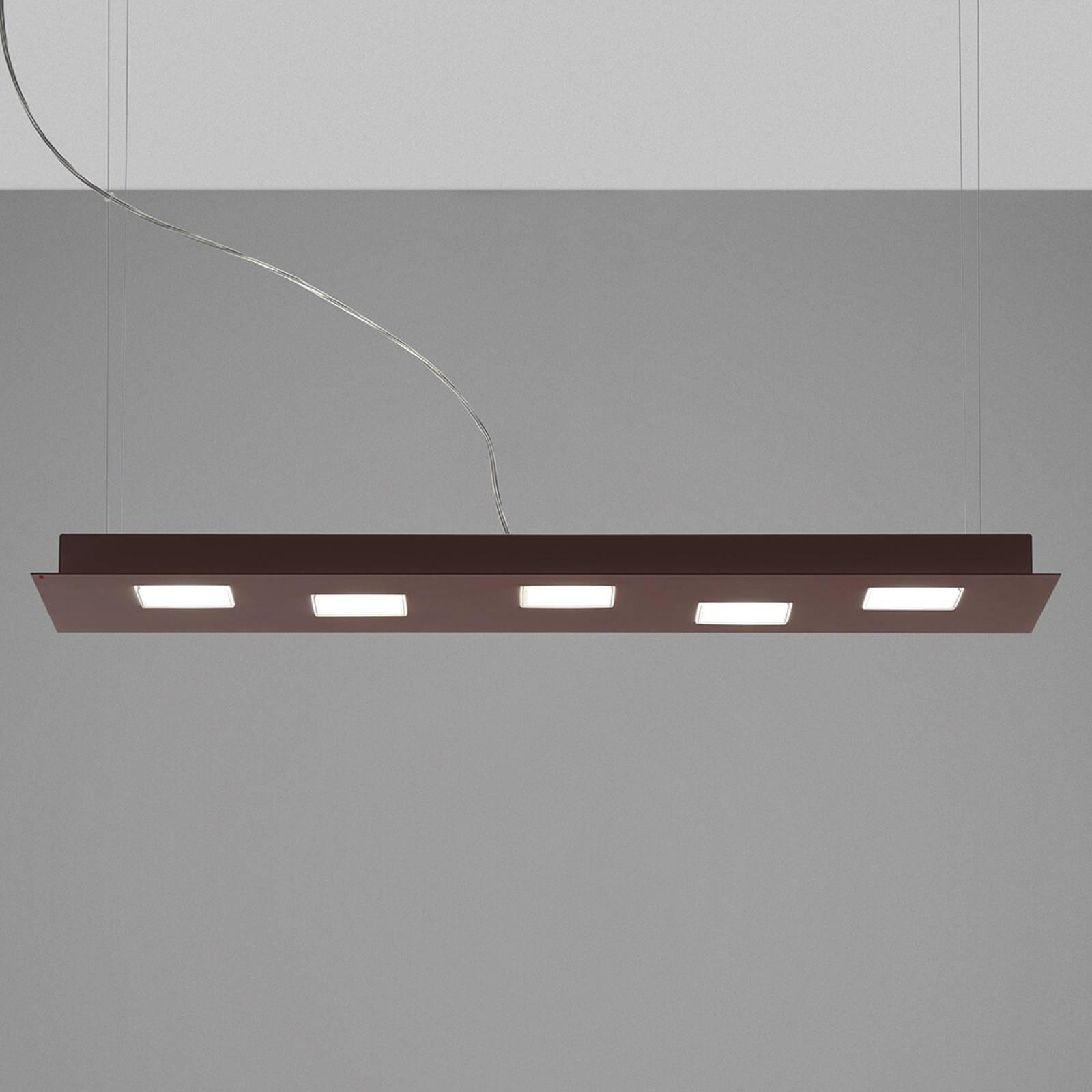 Podłużna lampa wisząca LED Quarter, brązowa