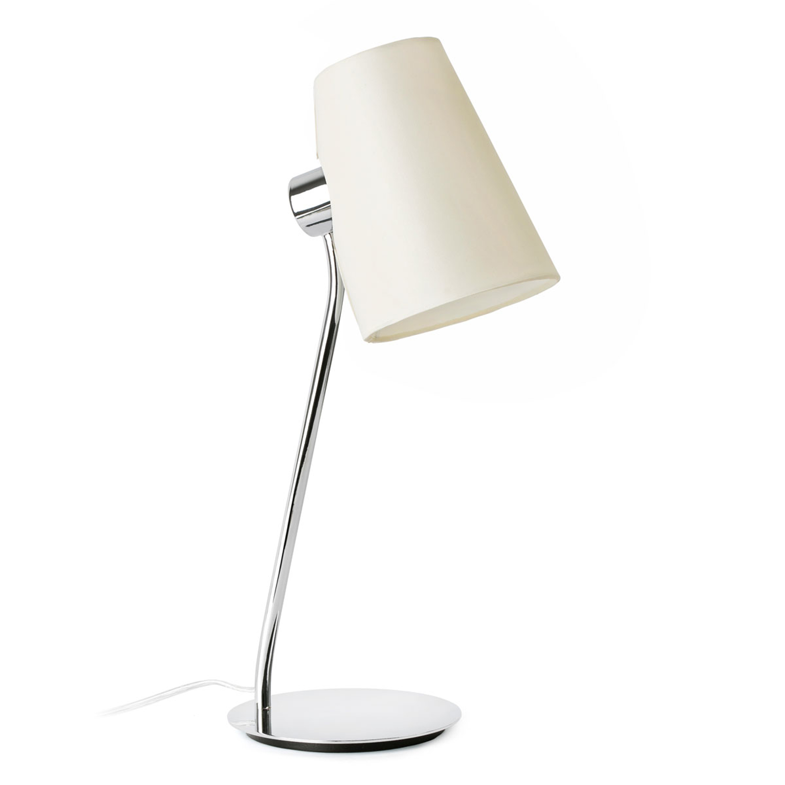 Lampa stołowa Lupe z kloszem z tkaniny beżowa
