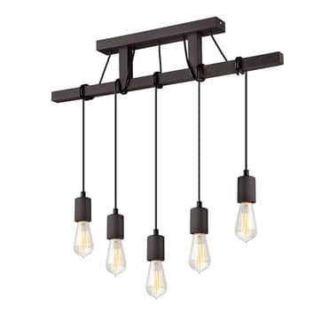 Lampa wisząca Tyske z drewna, 5-punktowa, wenge
