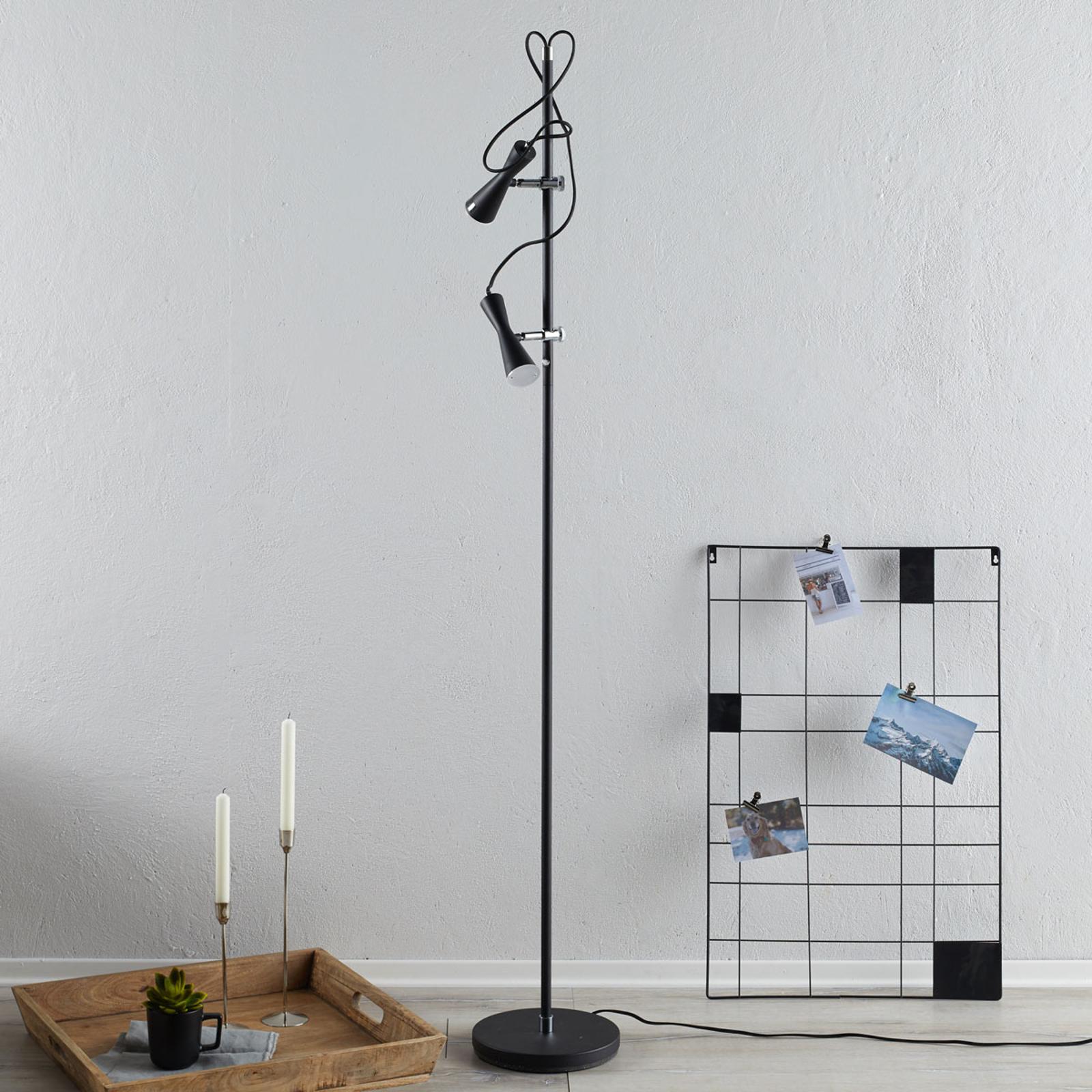 Produktové foto Hight Light B.V. Elegantní stojací lampa LED Move, dvouzdroj černá
