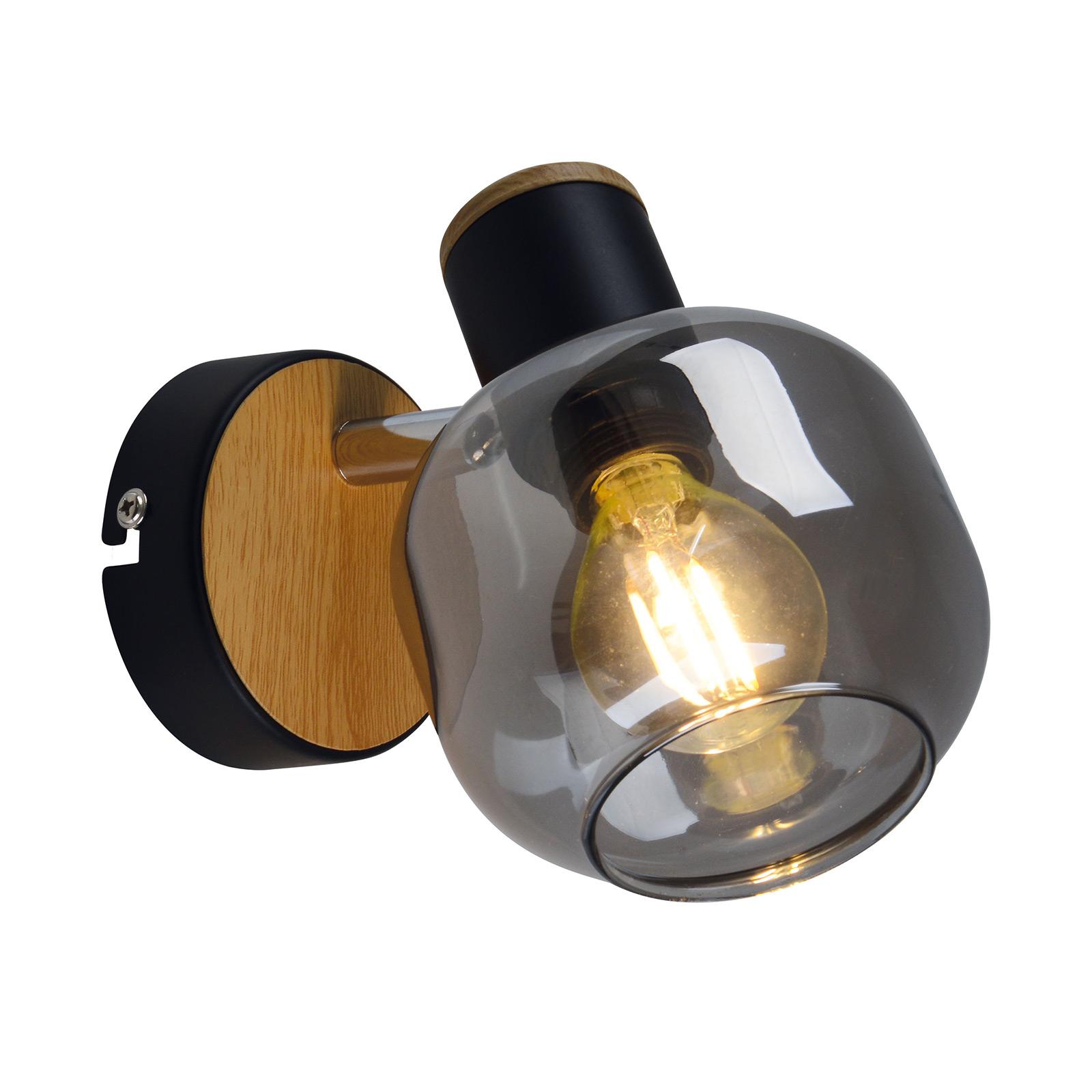 Vegglampe 1350022 med røykglass, en lyskilde