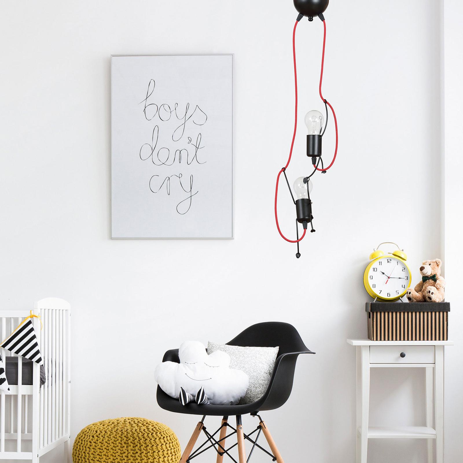 Hanglamp Bobi 2 in zwart, kabel rood, 2-lamps