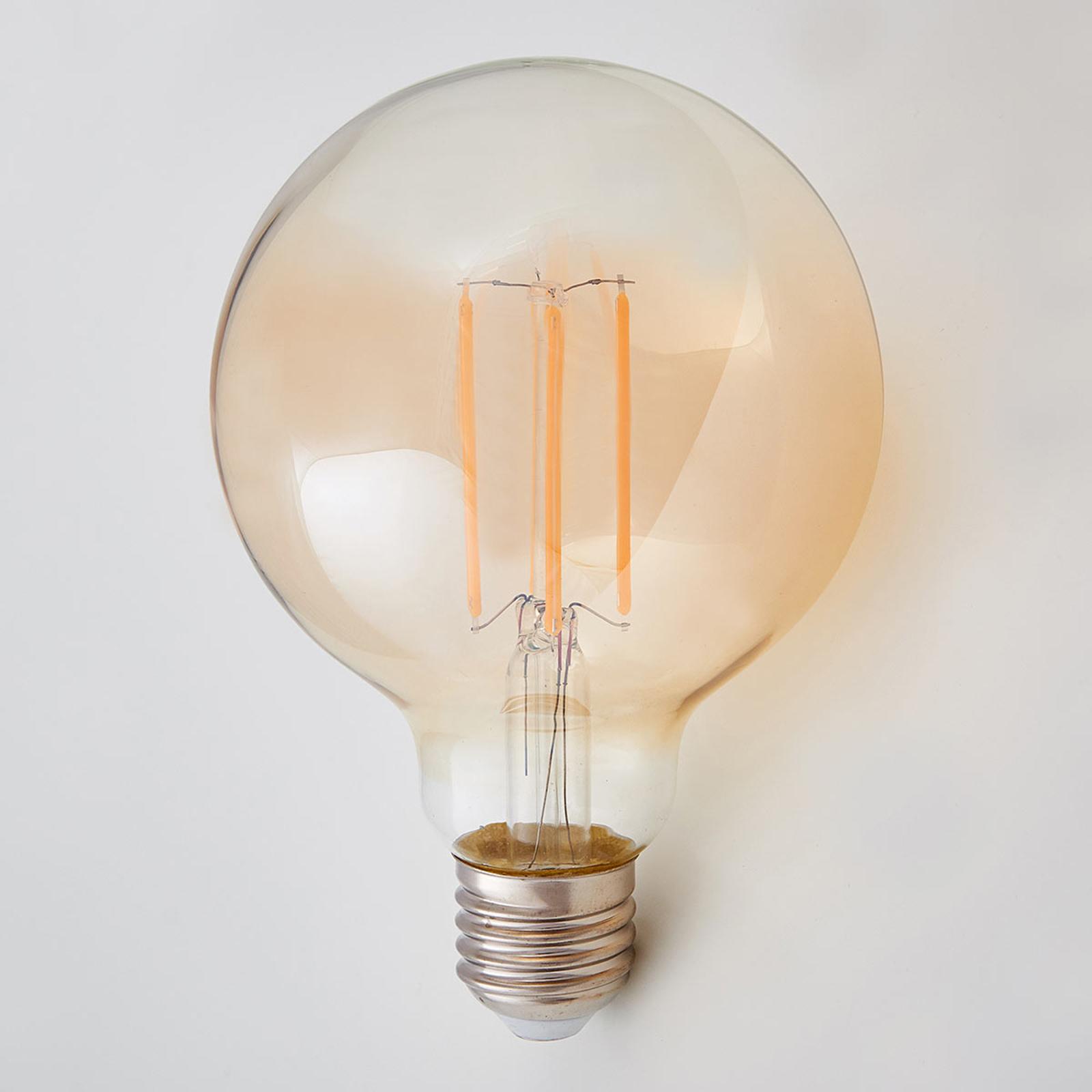 E27 LED-Globelampe Filament 6W 500Lm, amber 2.200K