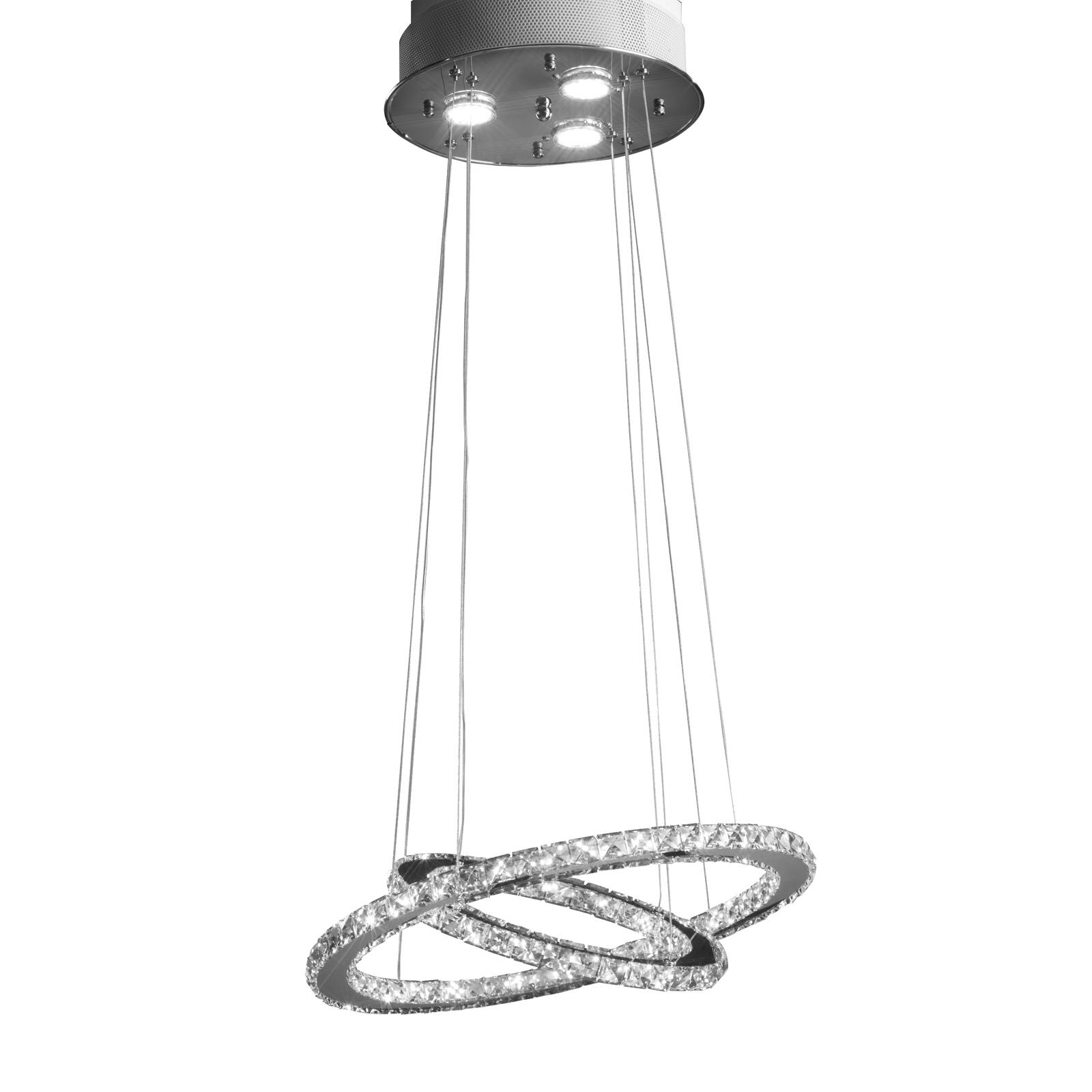 LED-hengelampe Saturno med krystallglass