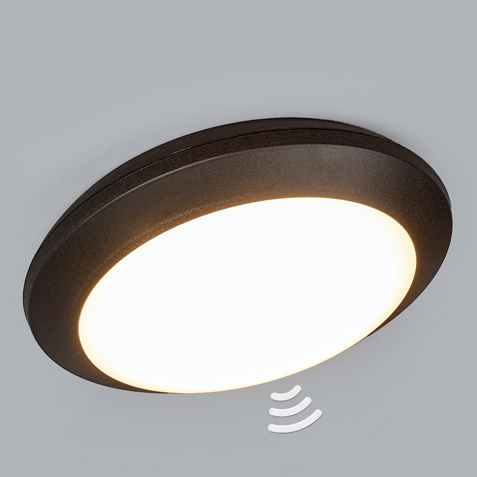 Černé stropní světlo Umberta 11W 3000K, detektor