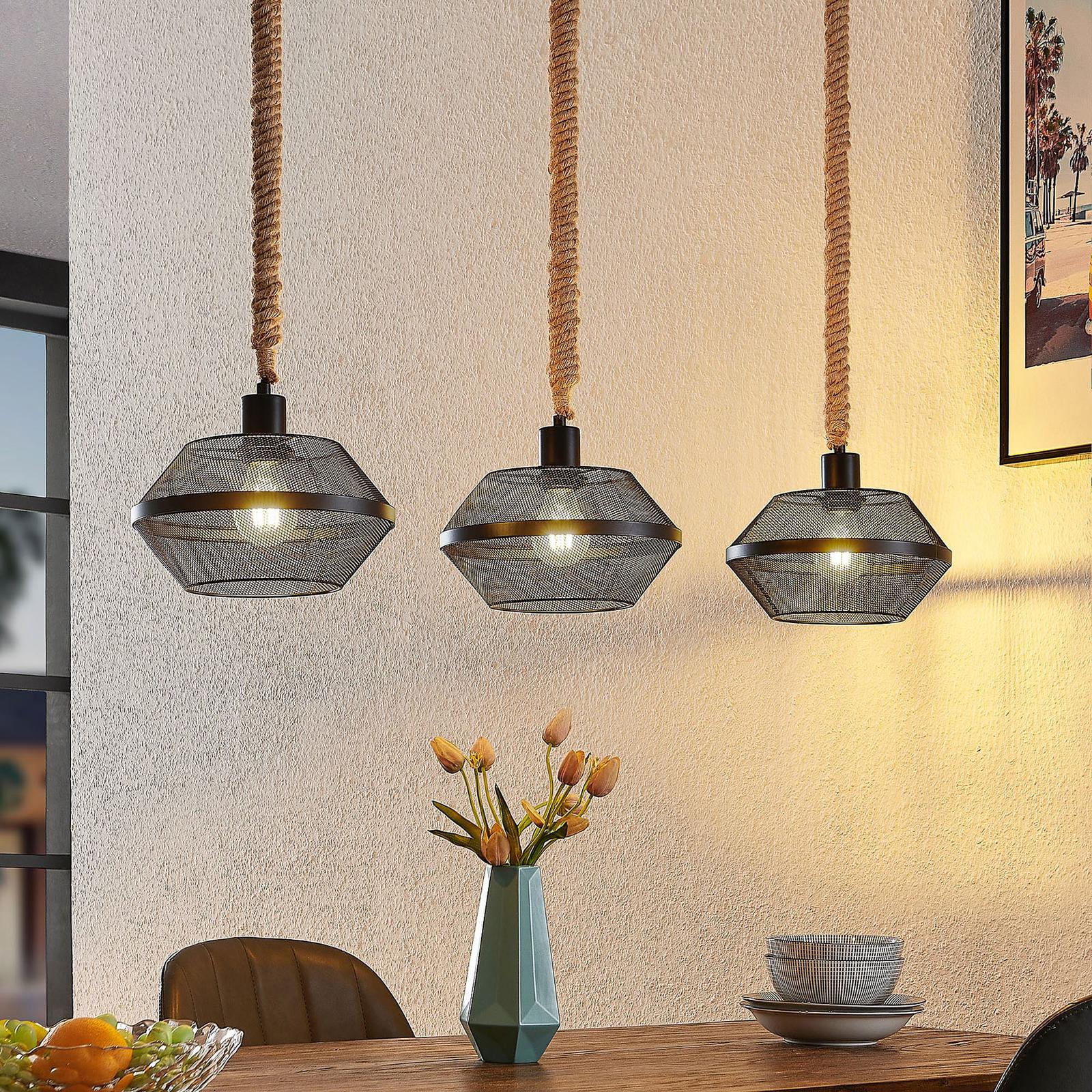 Lindby Rabia hængelampe, 3 lyskilder