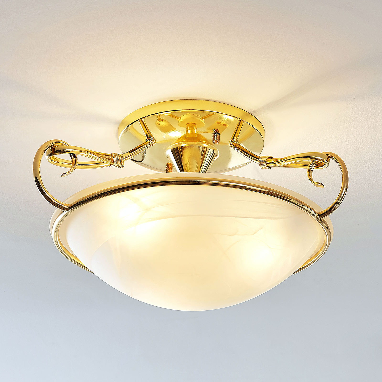Glazen plafondlamp Lonika, glanzend messing