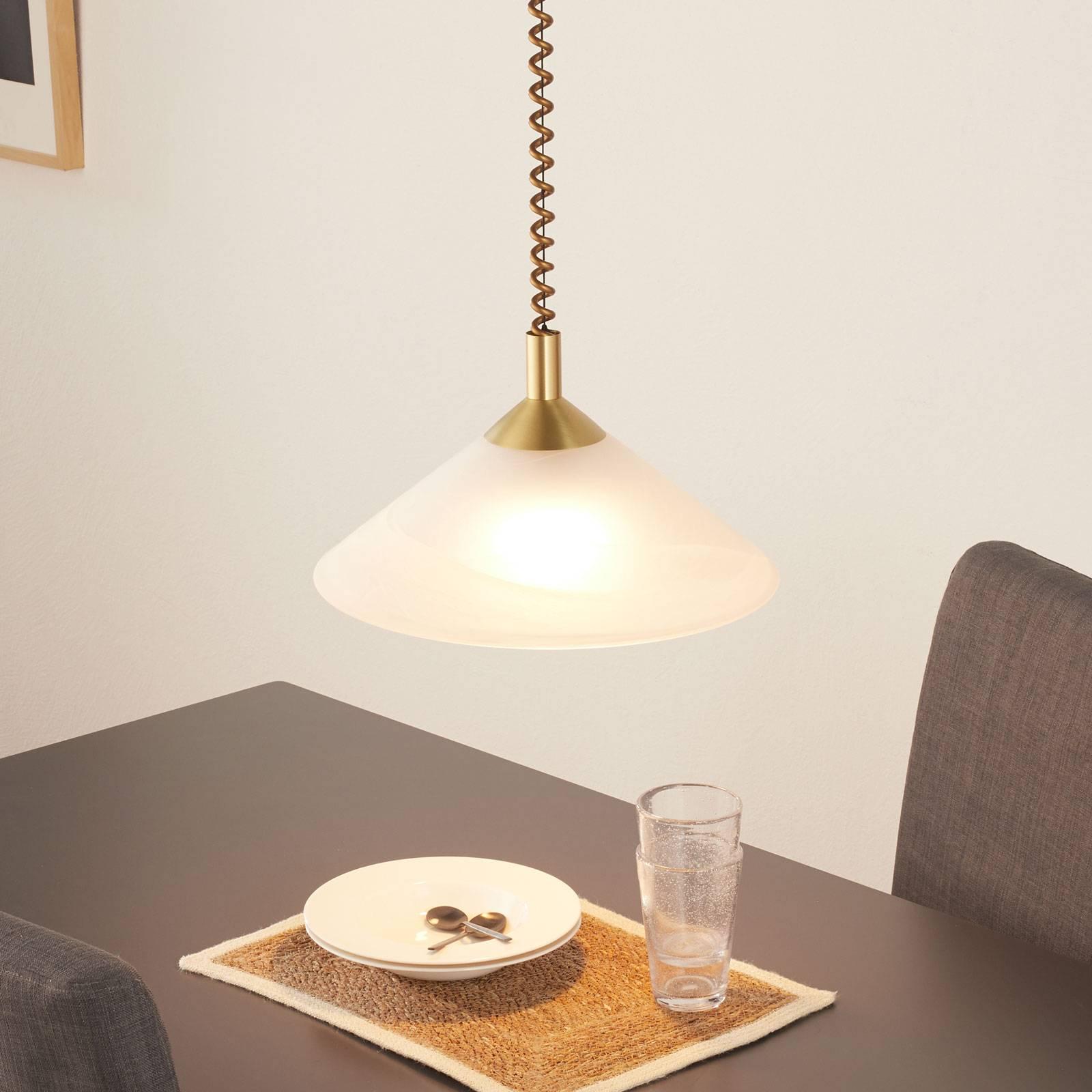 Saturn instelbare hanglamp in messinglook