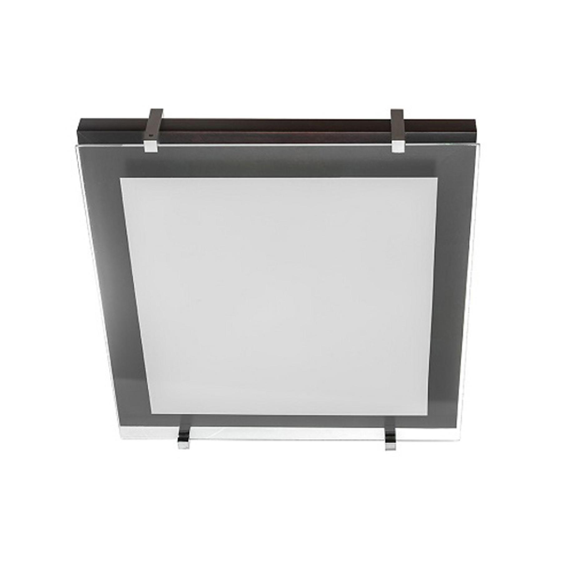 Deckenleuchte P1 aus Holz und Glas 40x40cm