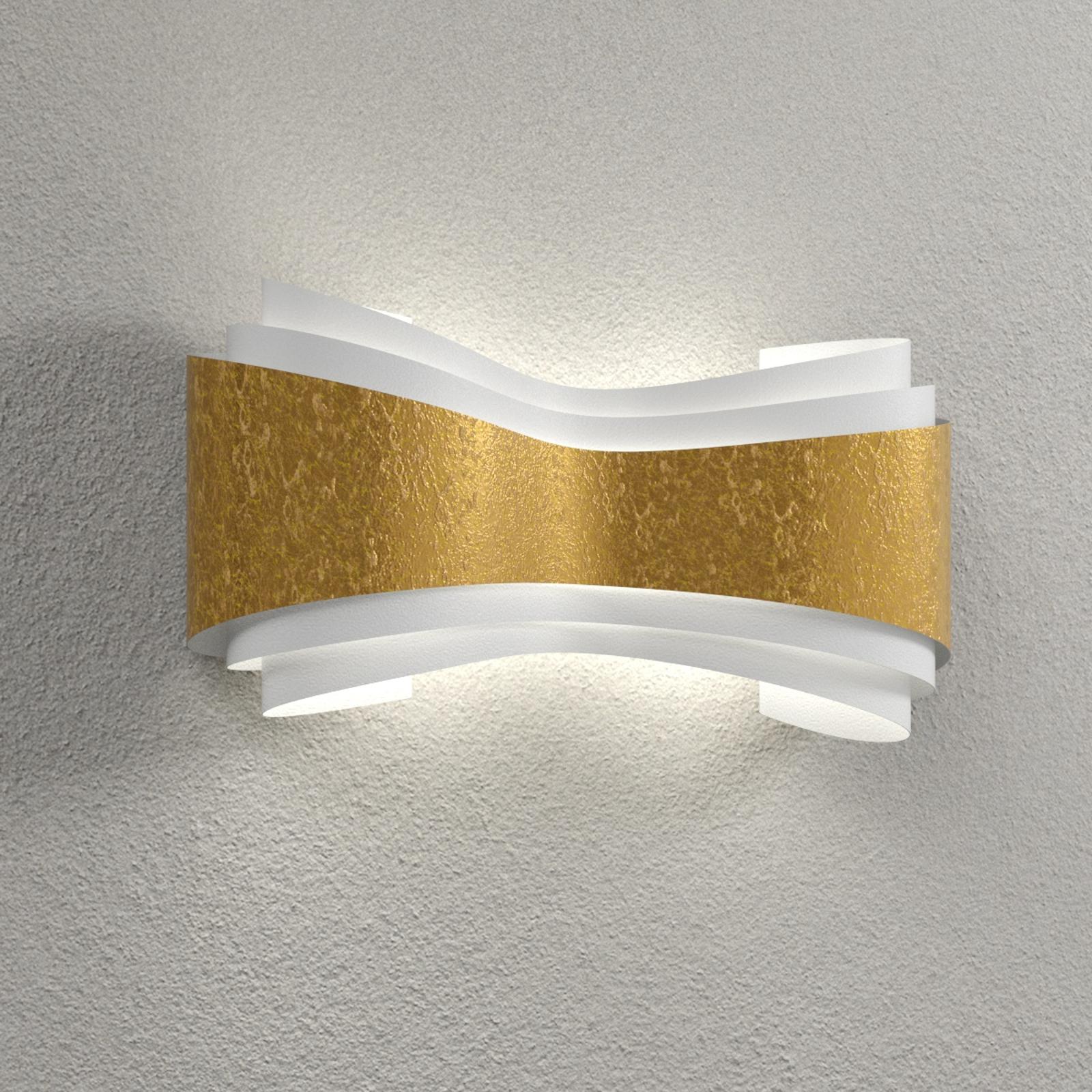 Designerska lampa ścienna Ionica złota taśma