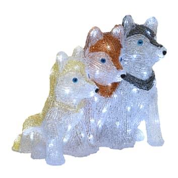 Figurine déco LED Chiots Husky pour l'extérieur