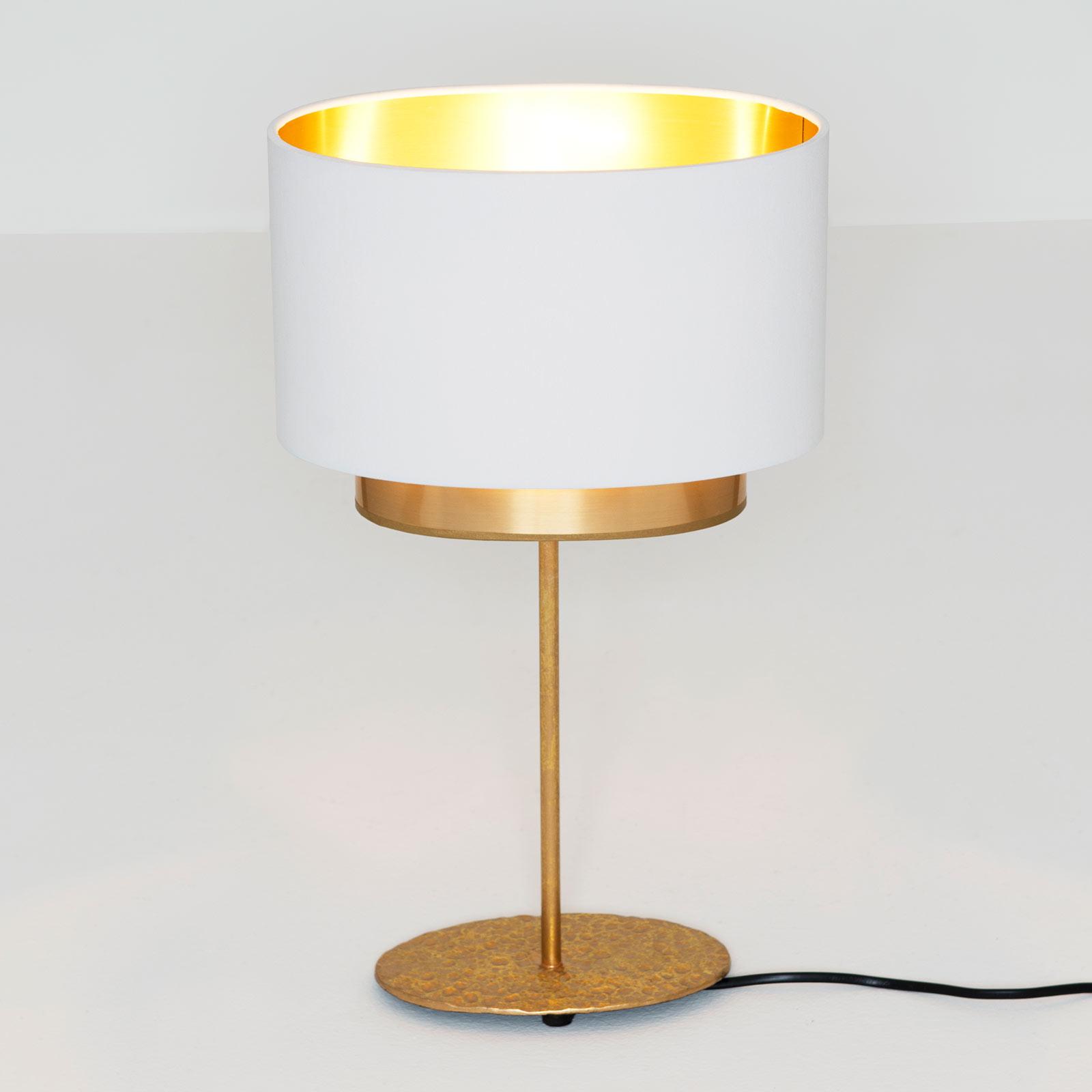 Tischleuchte Mattia, oval, doppelt, weiß/gold