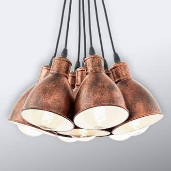 Lámpara colgante vintage Priddy 1, 7 luces, cobre