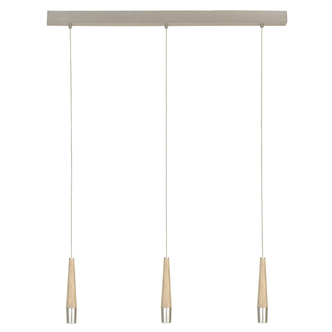 HerzBlut Conico suspension chêne naturel 3 lampes