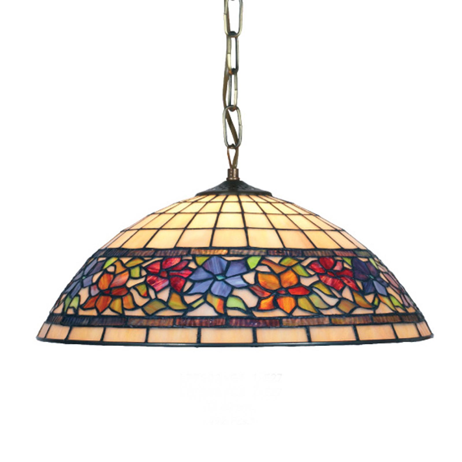 Flora hængelampe i Tiffany-stil, åben nede 2xE27