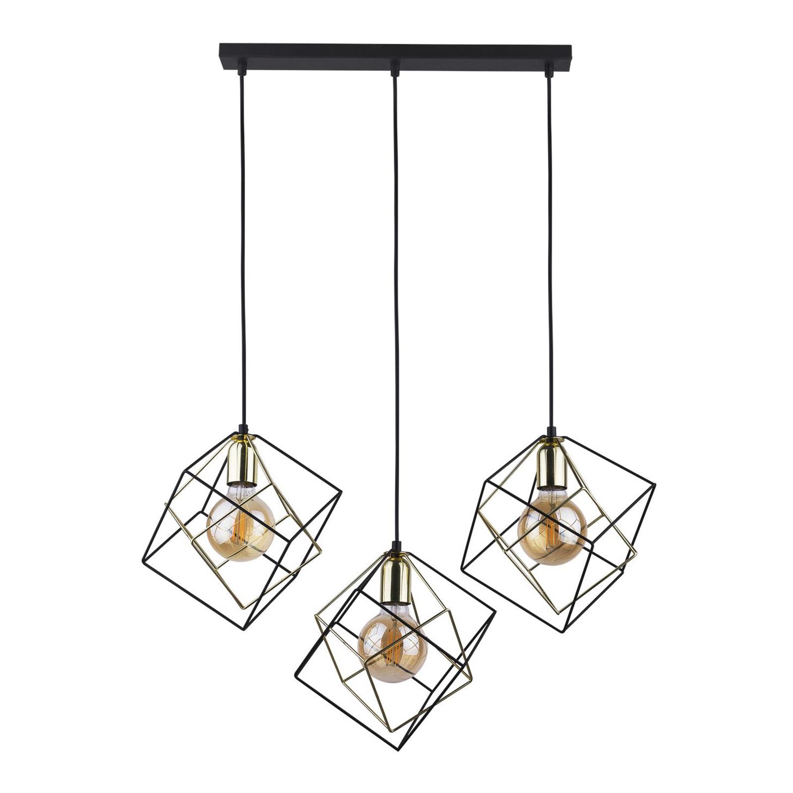 Suspension Alambre à 3 lampes linéaire, doré/noir