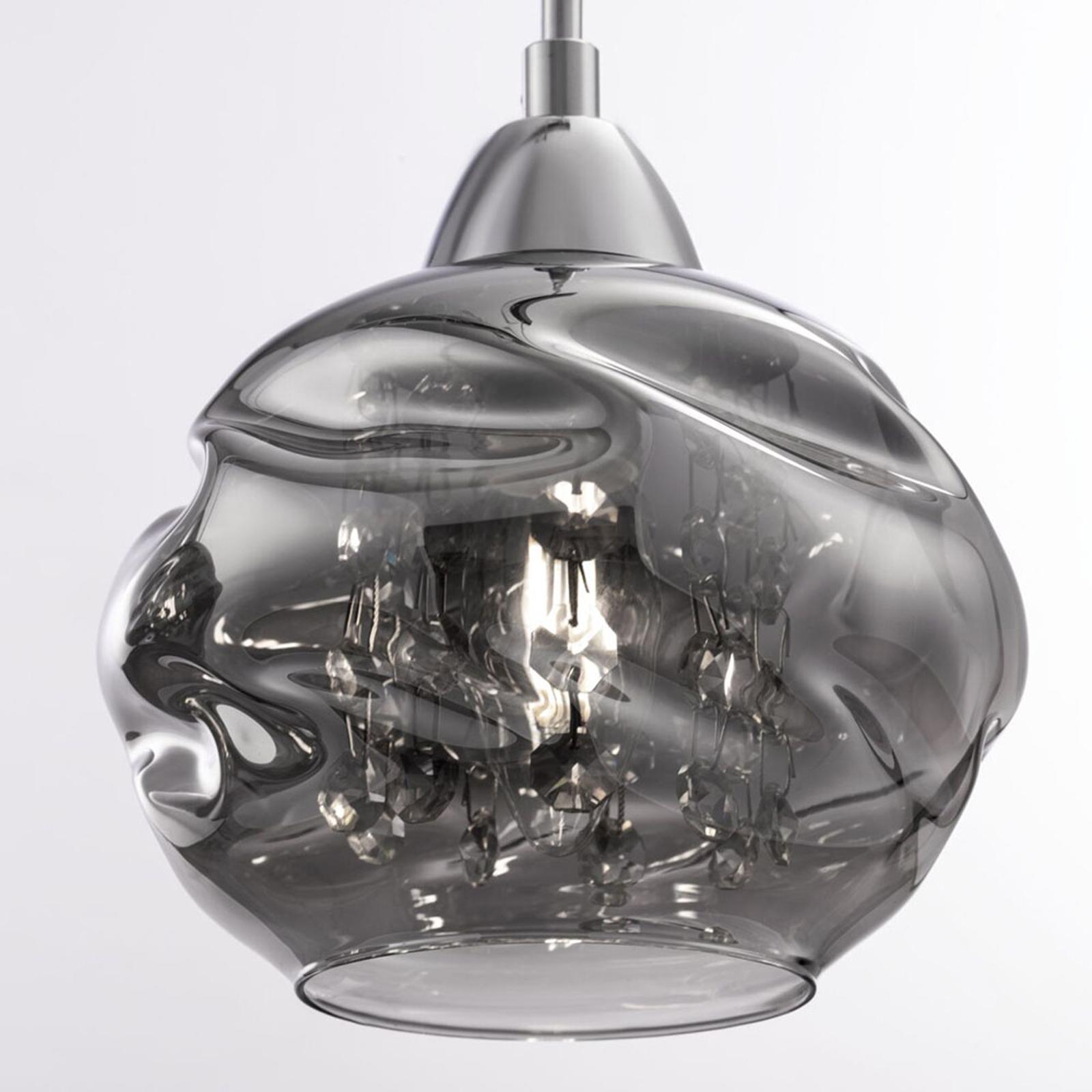 Hanglamp Haze, 3-lamps met glazen kappen