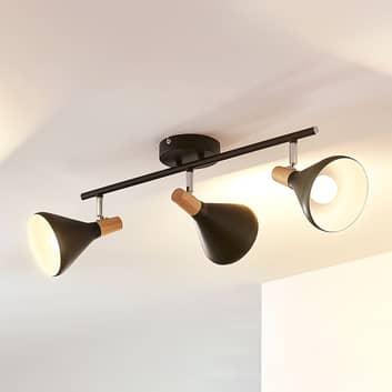 LED-Deckenleuchte Arina in Schwarz, 3-flammig lang