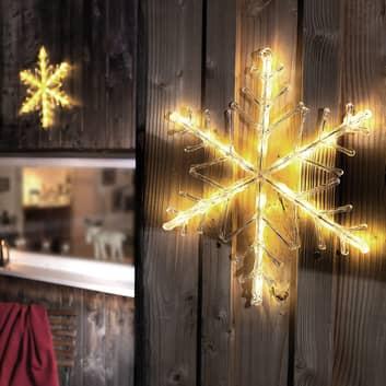 Brillante copo de nieve LED, blanco cálido 40 cm
