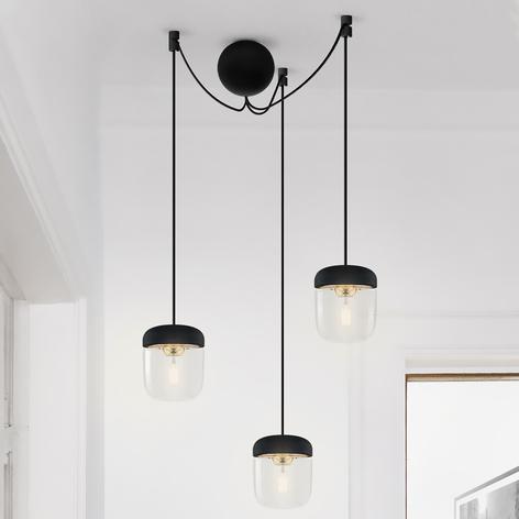UMAGE Acorn lámpara colgante 3 luces negro/latón
