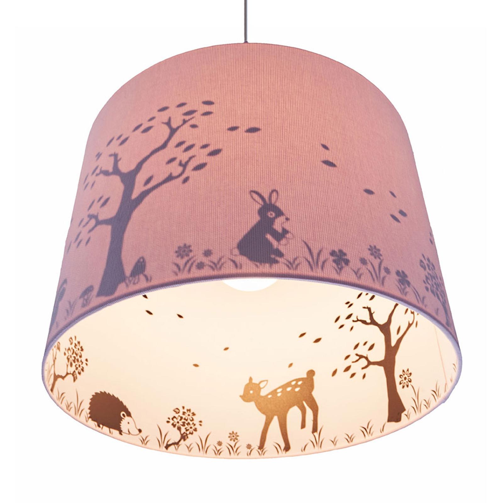 Binnenin bedrukte hanglamp Carla, motief hert