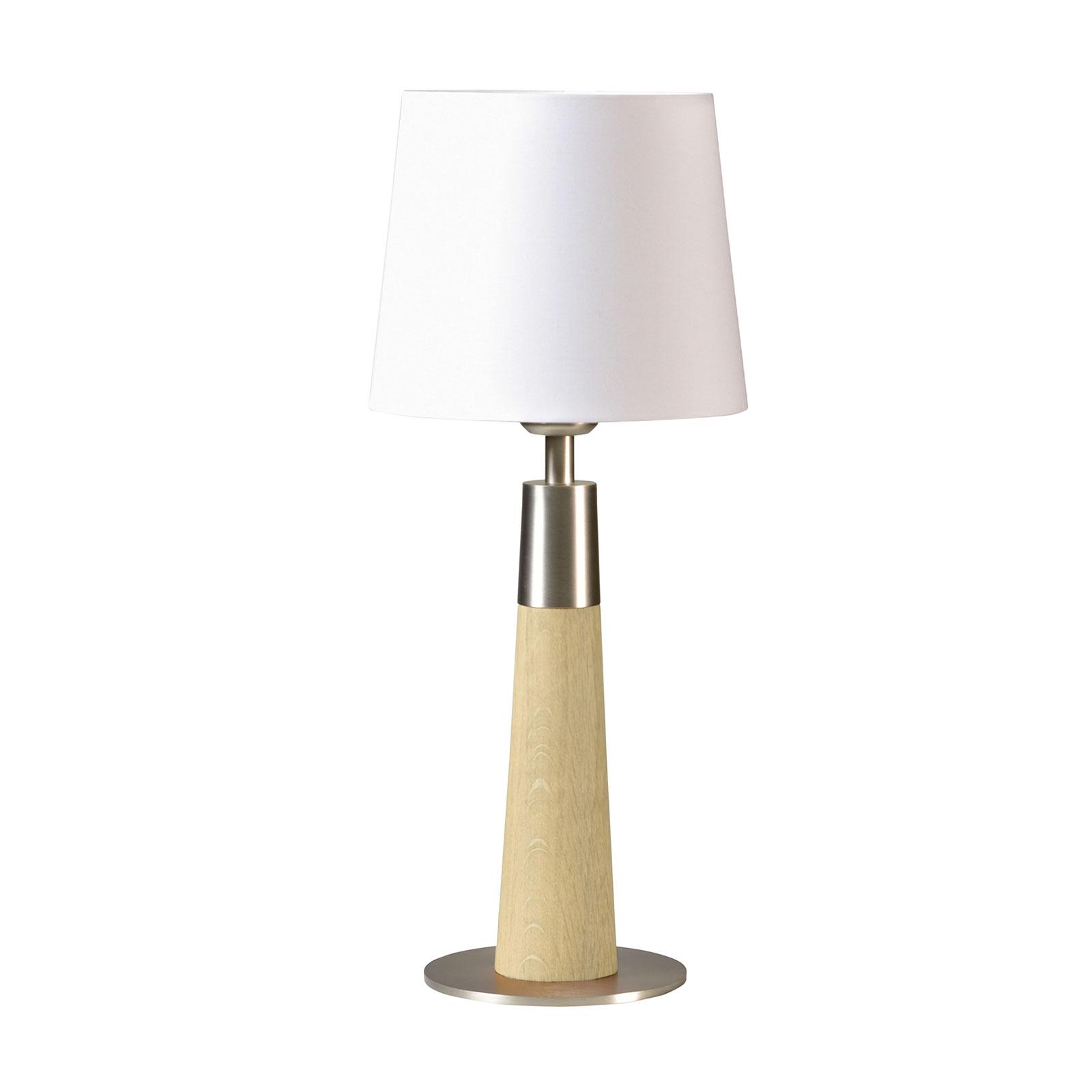HerzBlut Conico tafellamp wit, eiken natuur, 44cm