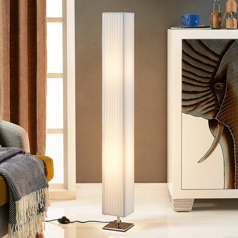 Bílá textilní stojací lampa Janno
