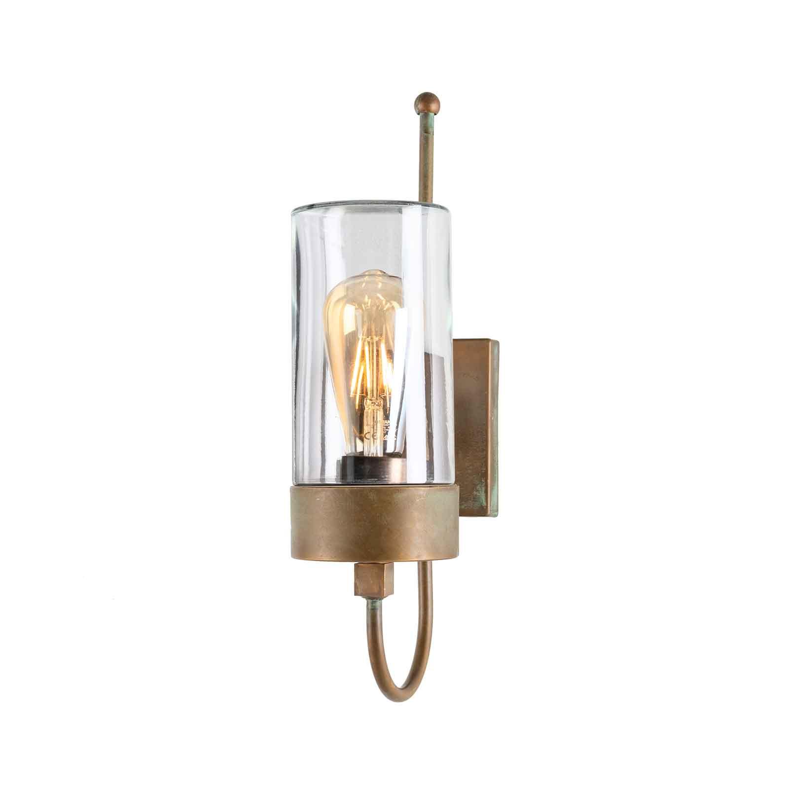 Buitenwandlamp Silindar 3356,messing antiek/helder