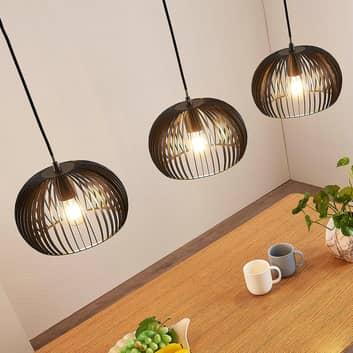 Hanglamp Jusra gemaakt van zwart metaal, 3-lamps