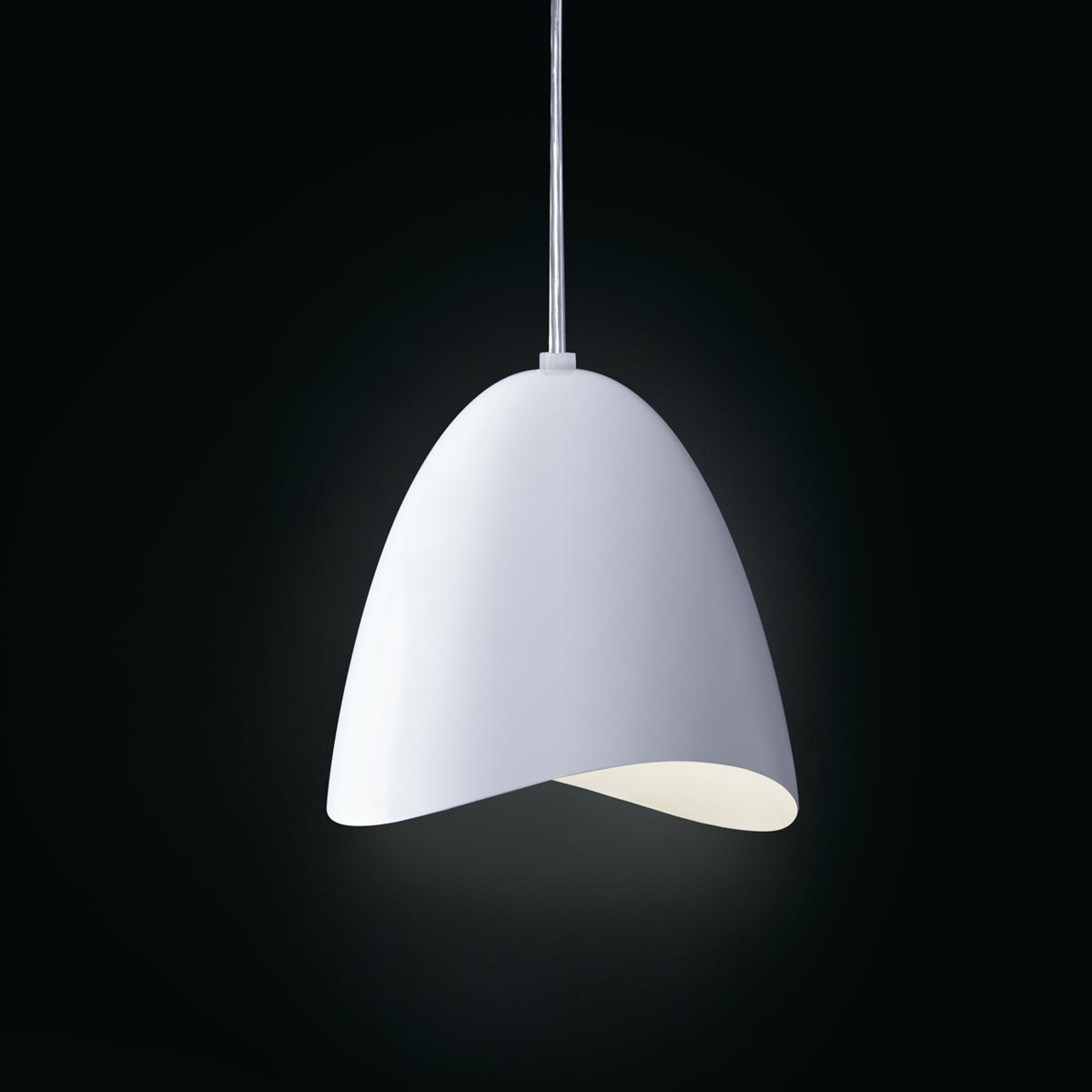 Glanzend witte LED hanglamp Mirage