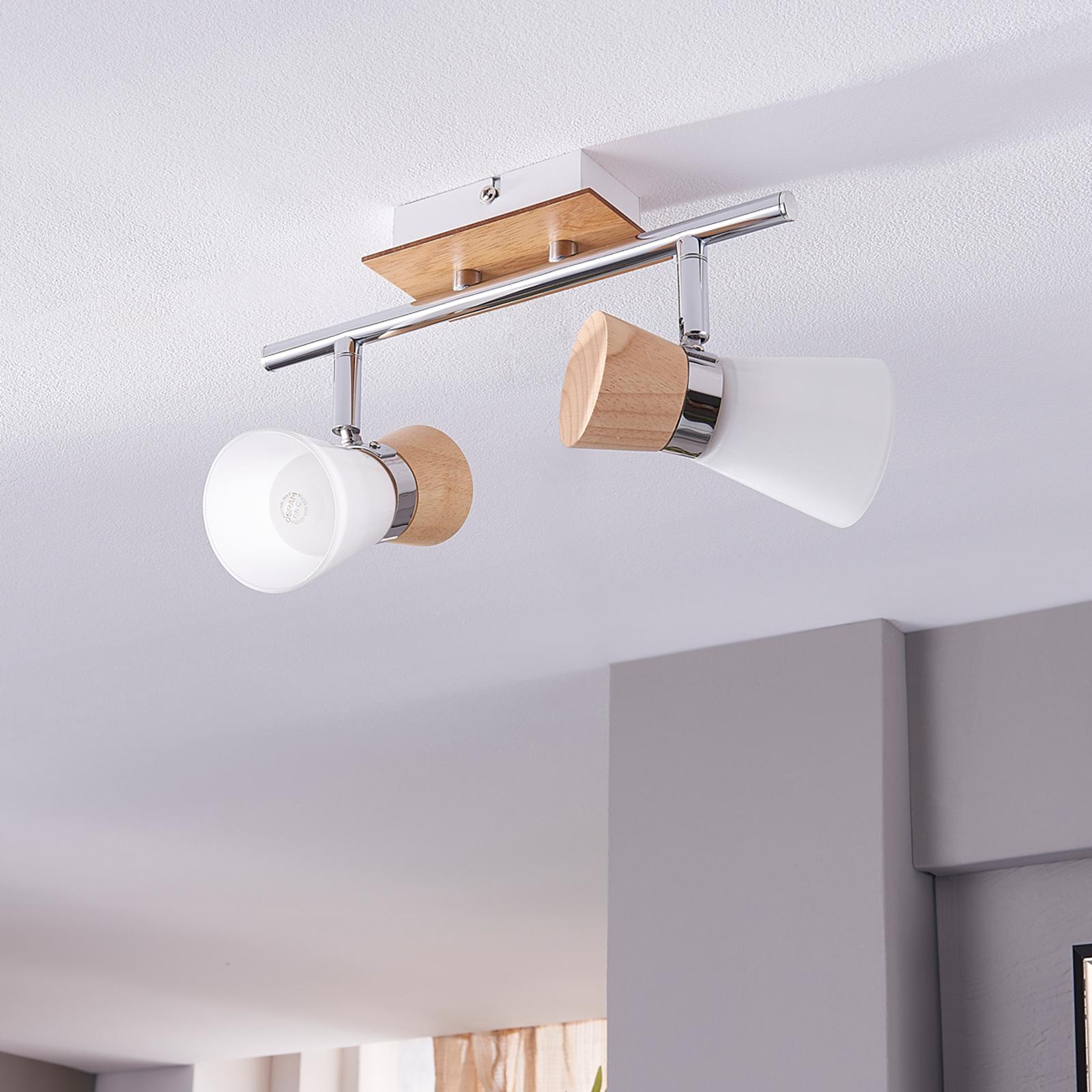 2-pits houten plafondlamp Vivica met glas