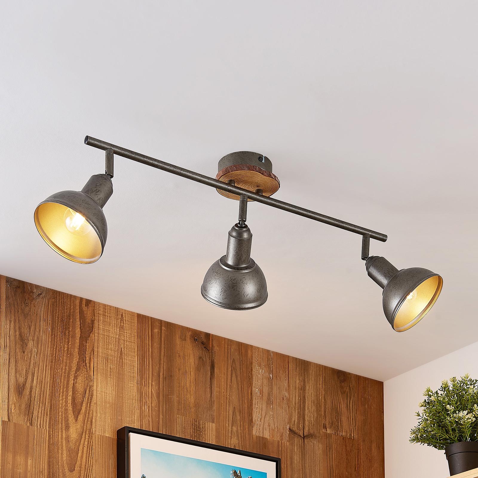 Lindby Nesrin plafonnier disque bois, 3 lampes