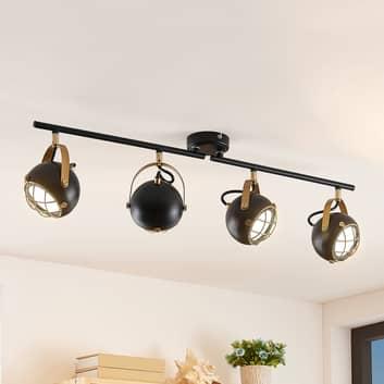 Lindby Dawid LED-taklampa, gulddekor, 4 lampor