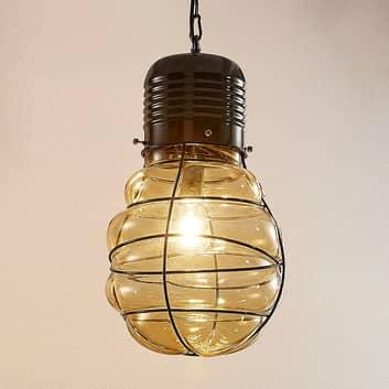Lampa wisząca Maluka, bursztynowe szkło