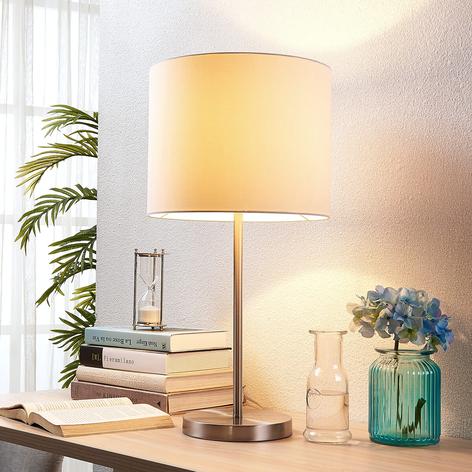 Bílá textilní stolní lampa Parsa